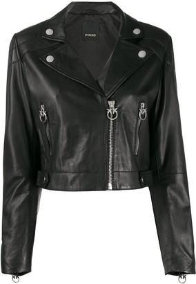 Pinko Cropped Leather Biker Jacket