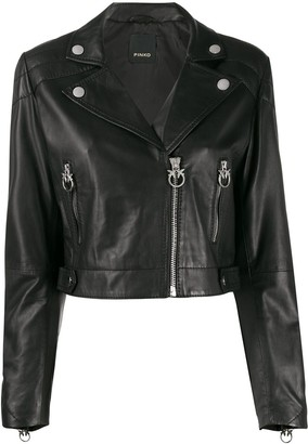 Pinko cropped leather biker jacket