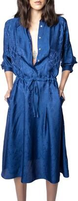 Zadig & Voltaire Revolt Long Sleeve Jacquard Shirtdress