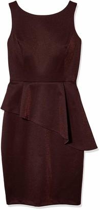 Gabby Skye Women's Sleeveless Round Neck Peplum Midi Sheath Dress