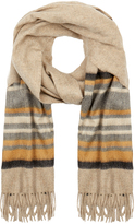Johnstons of Elgin Beige and Yellow Muted Stripe Cashmere Scarf