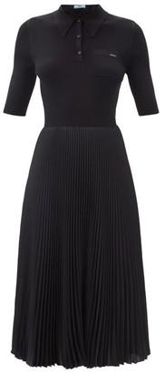 Prada Logo-embroidered Wool-blend Jersey Dress - Black
