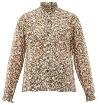 Nili Lotan Marcela Ruffled Floral-print Silk Blouse - Brown Multi
