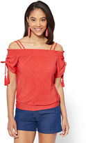 New York & Co. 7th Avenue - Tassel-Accent Off-The-Shoulder Blouse
