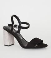 New Look Wide Fit Suedette Diamante Heels