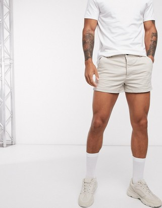 ASOS DESIGN skinny chino shorts in beige