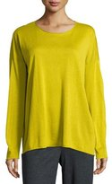 Eileen Fisher Long-Sleeve Fine-Gauge Knit Top