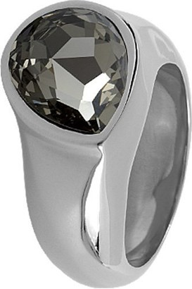 Jacques Lemans Jewellery S-R27A54 Ladies' Ring Stainless Steel Swarovski Crystal Grey Size 54 / O
