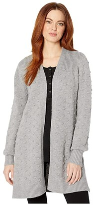Calvin Klein Popcorn Stitch Cardigan (Heather Granite) Women's Sweater