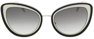 Alexander McQueen Sculpted Metal Frame Cateye Sunglasses