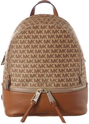 MICHAEL Michael Kors Rhea Medium Zip Signature Leather And Canvas Backpack