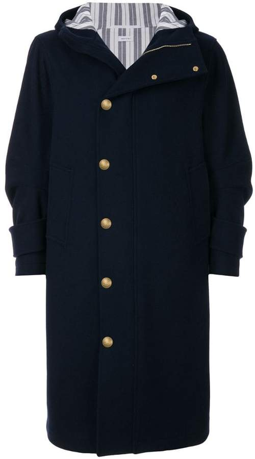 Thom Browne Articulated Melton Wool Hooded Overcoat