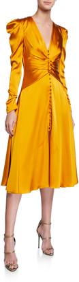 Jonathan Simkhai Ruched-Front V-Neck Long-Sleeve Sateen Dress