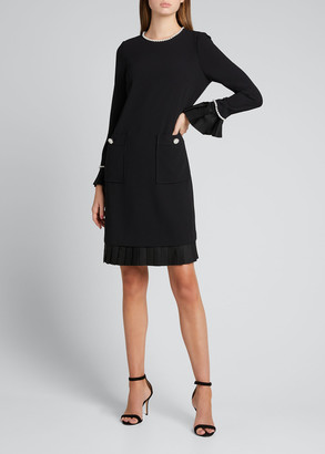 Rickie Freeman For Teri Jon Pearl Trim Long-Sleeve Crepe Dress w/ Pleated Trim
