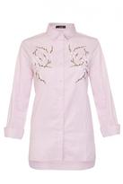 Quiz Pink Stripe Embroidered Flower Shirt