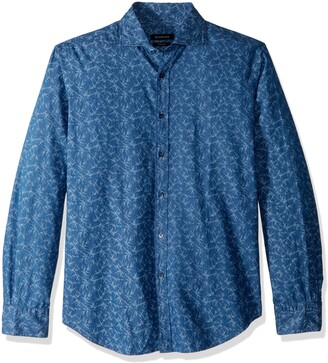 Bugatchi Men's Trim Fit Spread Collar Pattern Cotton Shirt