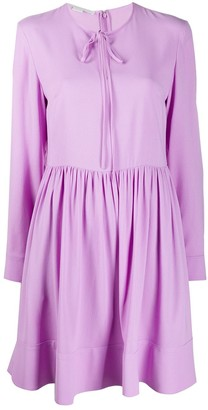 Stella McCartney Tie-Neck Silk Shift Dress