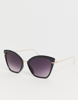 Cat Eye Asos Design ASOS DESIGN sunglasses with metal nose bridge-Black