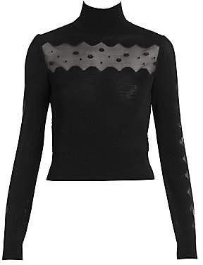 Alexander McQueen Women's Ottoman High-Neck Knit Top