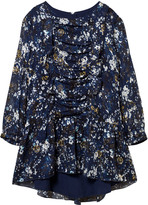 Chloé Navy Mini Me Floral Print Silk Dress
