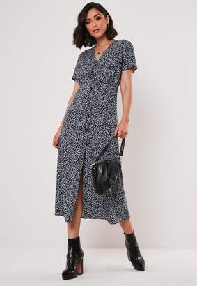 Missguided Navy Floral Button Down Midi Dress