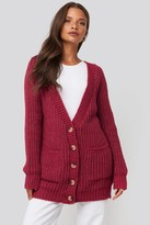 NA-KD Button Up Chunky Cardigan Purple