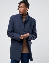 Selected Homme Herringbone Overcoat With Funnel Neck