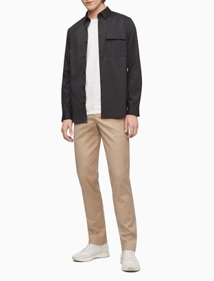 Calvin Klein Solid Flap Pocket Button-Down Utility Shirt