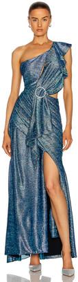 PatBO Metallic One Shoulder Maxi Dress in Blue   FWRD