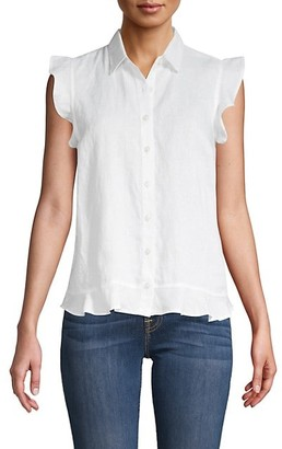 Saks Fifth Avenue Ruffle Sleeve Linen Shirt
