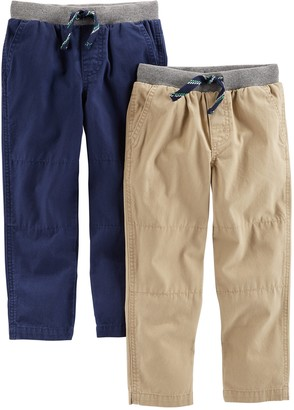 Carter's Simple Joys by 2-pack Pull on Pant Blue (Khaki