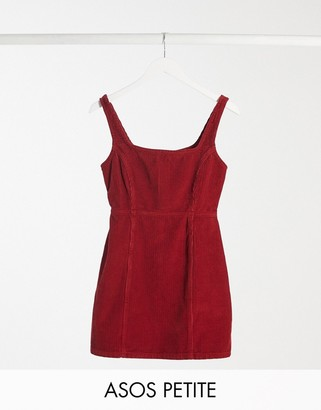ASOS DESIGN Petite cord square neck pinny in red