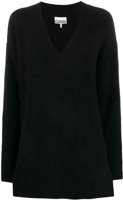 Ganni v-neck oversized jumper