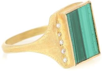 Elhanati Roxy Signature 18kt gold ring with malachite and diamonds