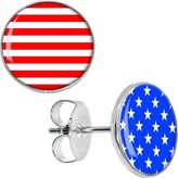 Body Candy Stainless Steel Red White Blue American Flag Stud Earrings