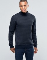 Brave Soul Roll Neck Sweater in Rib