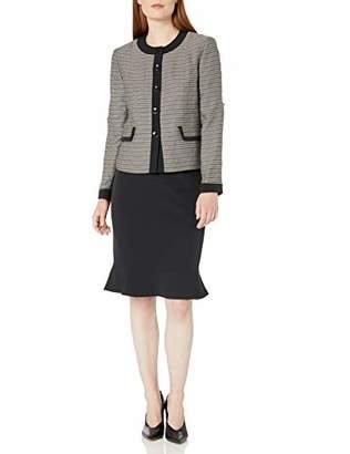 Le Suit Women's 5 Button Tweed Flounce Skirt Suit