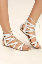 C Label Neala Silver Lace-Up Flat Sandals