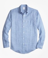 Brooks Brothers Regent Fit Gingham Irish Linen Sport Shirt