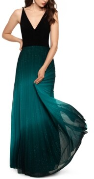Betsy & Adam Pleated Glitter-Skirt Gown