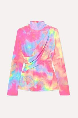 Sies Marjan Peyton Layered Glittered Tie-dyed Satin Top - Baby pink