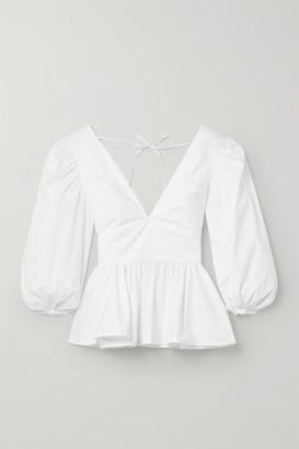 STAUD Luna Cotton-blend Poplin Peplum Top - White