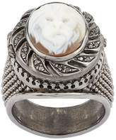 Amedeo Black Diamond Poison Lion Cameo Ring