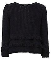 Autumn Cashmere Cross Back Fringe Sweater