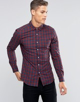 Asos Skinny Check Shirt In Navy/Red