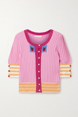 LoveShackFancy Benny Crochet-trimmed Pima Cotton And Modal-blend Intarsia Cardigan - Pink