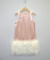 My Michelle Metallic Pink Faux Fur-Hem Sleeveless Dress
