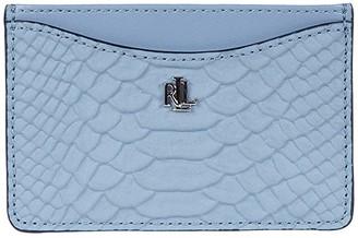 Lauren Ralph Lauren Elmswood Matte Python Embossed Slim Card Case Medium (Blue Mist) Wallet Handbags