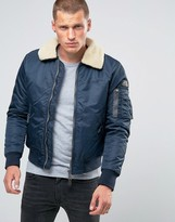 Schott Pilote Flight Bomber Faux Fur Collar