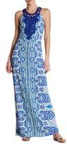 Hale Bob Halter Print Embroidered Woven Maxi Dress